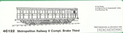 4C122 Metropolitan Railway 6 COMPARTMENT BRAKE THIRD