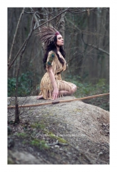 This dress was part of my degree collection. It started as an homage to the ash tree which is prized for bow making, arrow making and all sorts of other hunting tools. It evolved into a sort of hiawatha_meets-1920s flapper dress, decorated with feathers, inspired perhaps by my favorite childhood book- Hiawatha's Childhood with beautiful illustrations by Erroll le Cain. £850