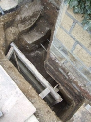 Shuttering in place to hold the concrete till it sets