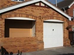 Temporary partition built internally and brickwork in progress