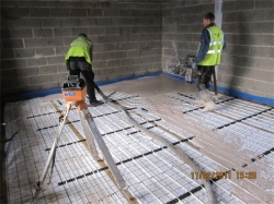 underfloor heating being installed