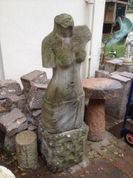1960s Carved Stone Modernist Statue