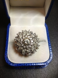 Vintage diamond cluster ring in 18ct white gold