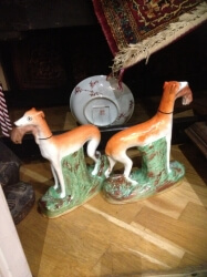 Pair of large victorian Staffordshire greyhounds