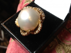Large Scale Pearl with Diamonds in 14ct Yellow Gold