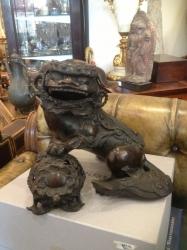 Japanese bronze lion dog