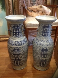 """Pair of large 19th century chinese """"Happiness"""" vases"""