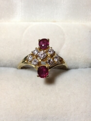18ct yellow gold, ruby and diamond ring