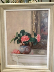Oil on board of camellias in a jug