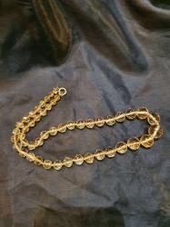Victorian pale citrine cut bead necklace