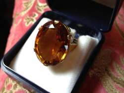 Large dark citrine set in 18ct yellow gold