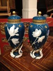 Pair of pate sur pate vases by Minton