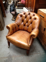 Contemporary Tan Leather Armchair