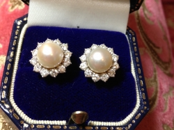 Vintage Pearl and Diamond Earrings