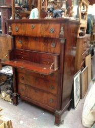 French Mahogany Chest with Secretaire Drawer