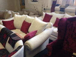 Sofas after being re-upholstered