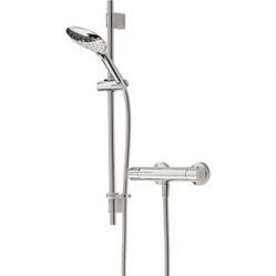 Bristan Claret Thermostatic Exposed Bar Shower With Adjustable Riser Kit, Multi Function Handset And Fast Fit Connections