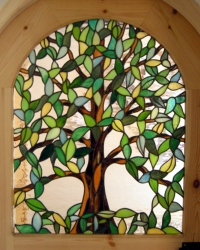 Commissioned Stained Glass Tree Panel