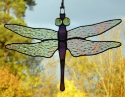 Stained Glass Ornament (Dragonfly) Iridescent Wings, two purples body, green eyes