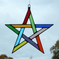 Stained Glass suncatcher Pentagram 5 pointed star in multiple coloured rippling water glass