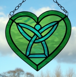 Stained Glass suncatcher Celtic Angel Heart - in light, medium and teal green rippling water glass
