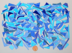 Stained Glass pieces (Various colour shades of blues and textured glass) off cuts...small pieces of glass