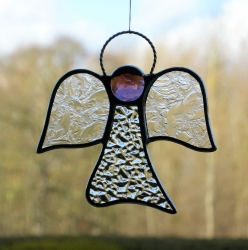 Stained Glass (Angel) in clear textured glass and purple head