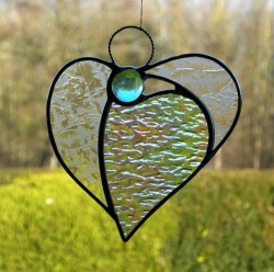 Stained Glass(Angel Heart)textured glass and light blue head