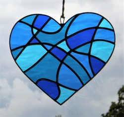 Stained Glass Abstract Love Heart in four shades of blue rippling waterglass