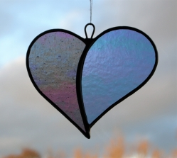 "Stained Glass ornament (Love Heart) ""When Two Hearts become One"" translucent iridescent glass"