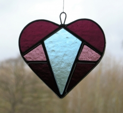 Stained Glass suncatcher (Love Heart) in purple, light purple and pale blue textured glass