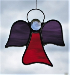 Stained Glass ornament (Angel) - cherry red rippling water glass, two purples rippling water glass