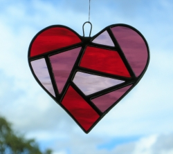 Stained Glass Love Heart in a red purple textured glass
