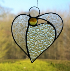 Stained Glass (Angel Heart) in textured glass and amber head