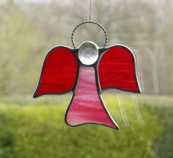 Abstract Stained Glass (Angel) in pink body and red wings iridescent opalescent glass