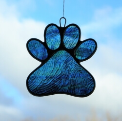 Stained Glass Window Suncatcher (Paw Print) in blue and green glass