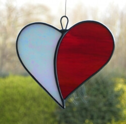 Stained Glass (Love Heart) white and red iridescent glass