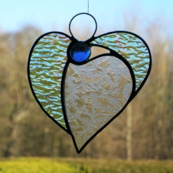 Stained Glass (Angel Heart) in textured glass and blue head