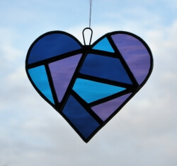Stained Glass Love Heart in aqua blue violet and navy blue textured glass