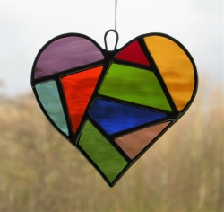 Abstract Stained Glass suncatcher (Love Heart) in a mixture of coloured water glass