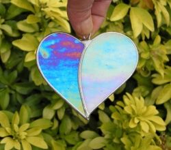 Stained Glass (Love Heart) blue and aqua iridescent glass