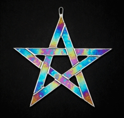 Stained Glass Pentagram 5 pointed star in cobalt blue iridescent glass
