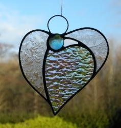 Abstract Stained Glass ornament (Angel Heart) - in textured glass