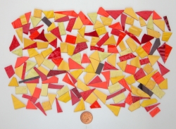 Stained Glass pieces (Various colours of yellow, amber, red and orange and textured glass) off cuts...small pieces of glass