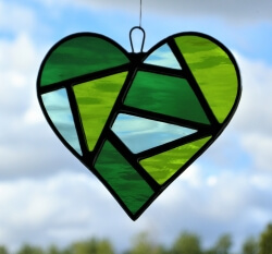 Stained Glass Love Heart in three shades of green textured glass