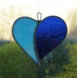 Stained Glass (Love Heart) aqua and blue iridescent glass