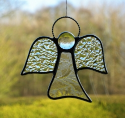 Stained Glass (Angel) in clear textured glass and clear head