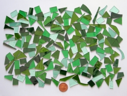 Stained Glass pieces (Various colour shades of greens and textured glass) off cuts...small pieces of glass