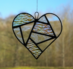 Stained Glass Love Heart in different clear textured glass