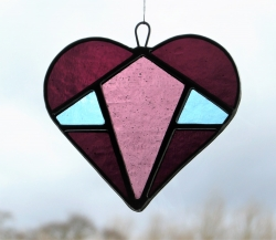 Stained Glass (Love Heart) in purple, light purple centre and pale blue textured glass